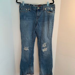Boot cut distressed jeans size 13